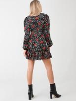 AX Paris Floral Frill Hem Dress - Black