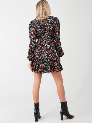 AX Paris Floral Frill Hem Dress - Black