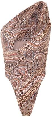 AMIR SLAMA One Shoulder Printed Swimsuit