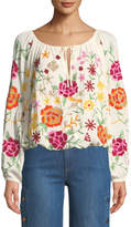 philosophy Tie-Front Embroidered Peasant Blouse