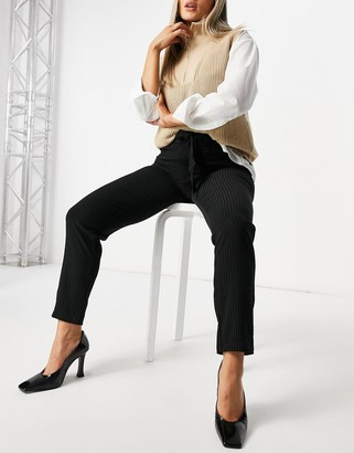 JDY Oma tie waist trousers in black