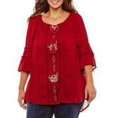 NEW DIRECTION 3/4 Bell Sleeve Off the Shoulder Embroidered Blouse-Plus