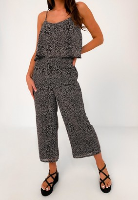 Missguided Black Animal Print Double Layer Jumpsuit