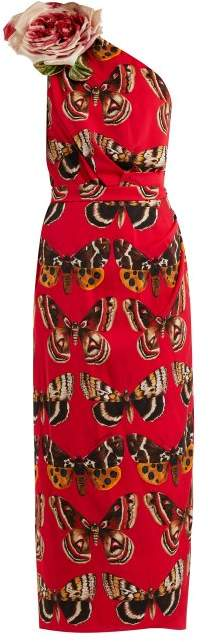 Dolce & Gabbana Rose Motif Butterfly Print Silk Charmeuse Dress - Womens - Red Print
