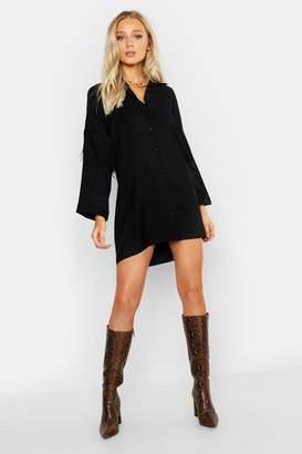 boohoo Fringed Back Western Shirt Dress