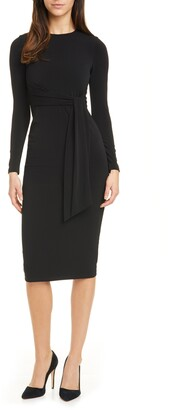 Alice + Olivia Delora Long Sleeve Tie Waist Dress