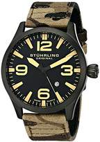Stuhrling Original Aviator 141C Men's Quartz Watch with Black Dial Analogue Display and Brown Fabric Strap 141C.02