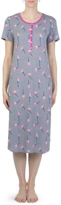 Claudel Sunny Days Mosaic Butterfly-Print Long Nightgown