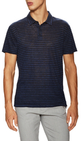 Vince Feeder Linen Striped Polo