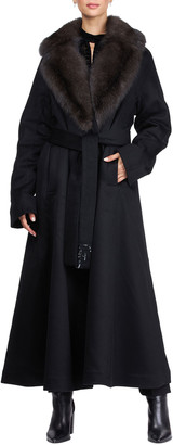 Gianfranco Ferre Cashmere Long Coat with Sable Collar