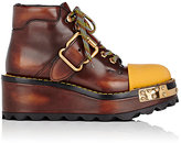 Prada Women's Burnished Leather Platform-Wedge Combat Boots-BROWN