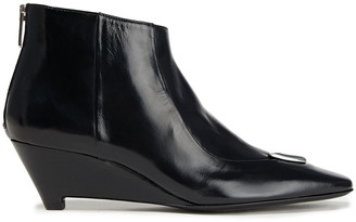 McQ Integrity Embellished Glossed-leather Ankle Boots