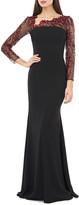 Carmen Marc Valvo Long-Sleeve Crepe Gown w/ Asymmetrical-Neck & Floral Applique