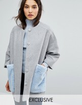 Helene Berman Kimono Coat with Faux Fur Pockets