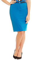 Calvin Klein Luxe Stretch Suiting Belted Pencil Skirt