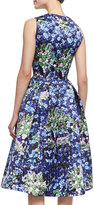 Mary Katrantzou Astere Sleeveless Jewel & Floral Full-Skirted Dress