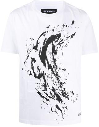 Les Hommes marble print patchwork T-shirt