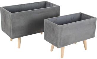 Uma Enterprises Set Of 2 New Traditional Fiber Clay Wood Planters
