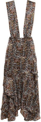 IRO Asymmetric Zebra-print Silk-chiffon Dress
