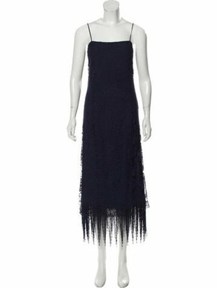 Adam Lippes Square Neckline Midi Length Dress w/ Tags Blue