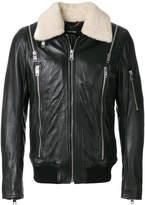 Diesel zip detail leather jacket