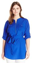 Calvin Klein Women's Plus-Size Print Tunic Roll Sleeve Blouse