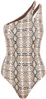 Melissa Odabash Jamaica Snake Print One Shoulder Swimsuit