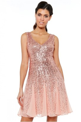 Goddiva Peach Sequin & Chiffon Mini Dress
