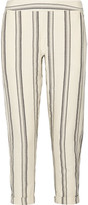 Hatch Cassie Striped Cotton Tapered Pants - Ecru