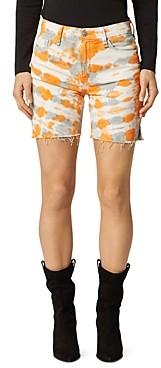 Hudson Hanna Frayed Denim Biker Shorts in Magnetic Tangerine