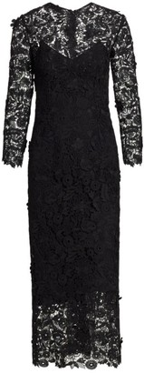 Carolina Herrera Floral Lace Sheath Dress