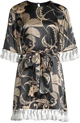 Mestiza New York Aurora Shimmy Shimmy Stretch-Silk Tassel Dress