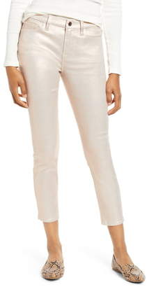 7 For All Mankind JEN7 by High Waist Metallic Coated Ankle Skinny Jeans