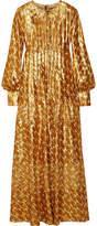 Tory Burch Bea Metallic Silk-blend Jacquard Gown - Gold