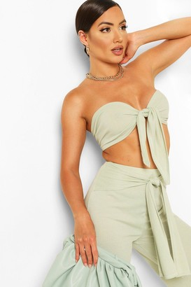 boohoo Tie Front Bandeau & Belted Trouser Co-ord Set