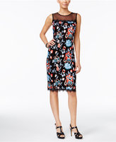 Thalia Sodi Embroidered Illusion Sheath Dress, Only at Macy's