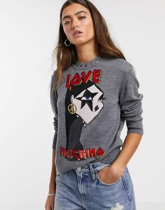 Love Moschino star girl graphic print logo jumper in wool blend-Grey