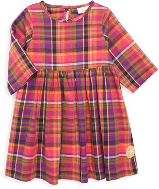 Smiling Button Little Girl's & Girl's Autumn Plaid Dress