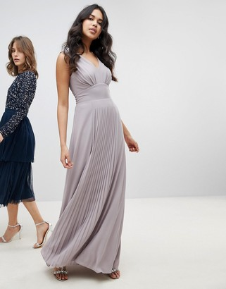 TFNC Sleeveless Maxi Bridesmaid Dress With Pleated Skirt-Gray