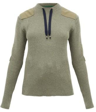 La Fetiche - Agnes Patch-appliqued Ribbed-wool Sweater - Khaki