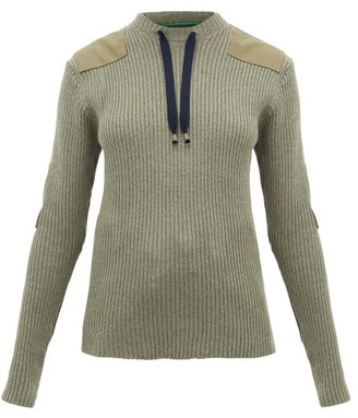 La Fetiche - Agnes Patch-appliqued Ribbed-wool Sweater - Womens - Khaki
