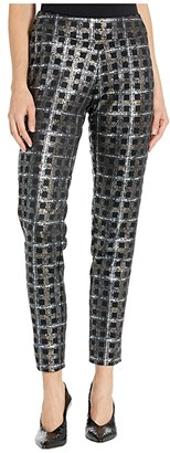 Krazy Larry Metallic Printed Pants (Silver Grid) Women's Casual Pants