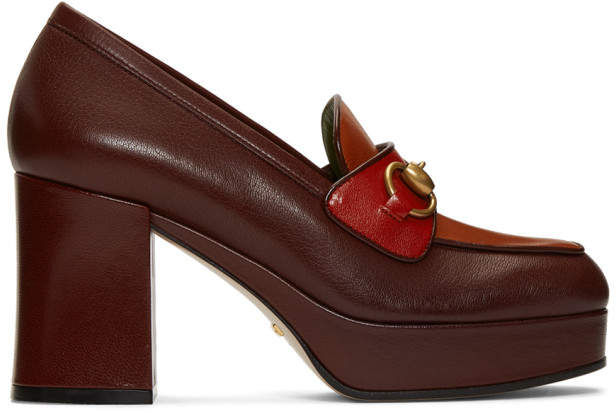 Gucci Burgundy and Red Houdan Horsebit 85 Heels