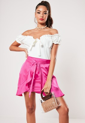 Missguided Petite Pink Tie Front Frill Mini Skirt