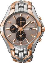 Seiko Men's Chronograph Solar Two-Tone Stainless Steel Bracelet Watch 43mm SSC250