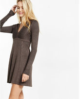 Express deep-v ribbed fit and flare sweater dress