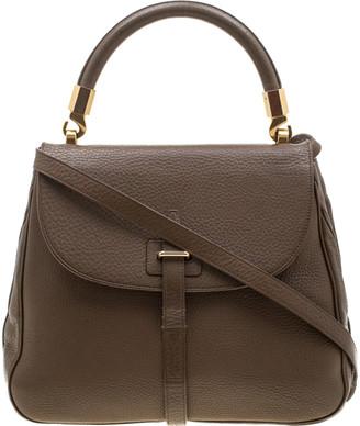 Saint Laurent Paris Brown Leather Top Handle Bag