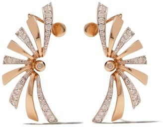 Brumani 18kt rose and white gold Buriti diamond cuff earrings