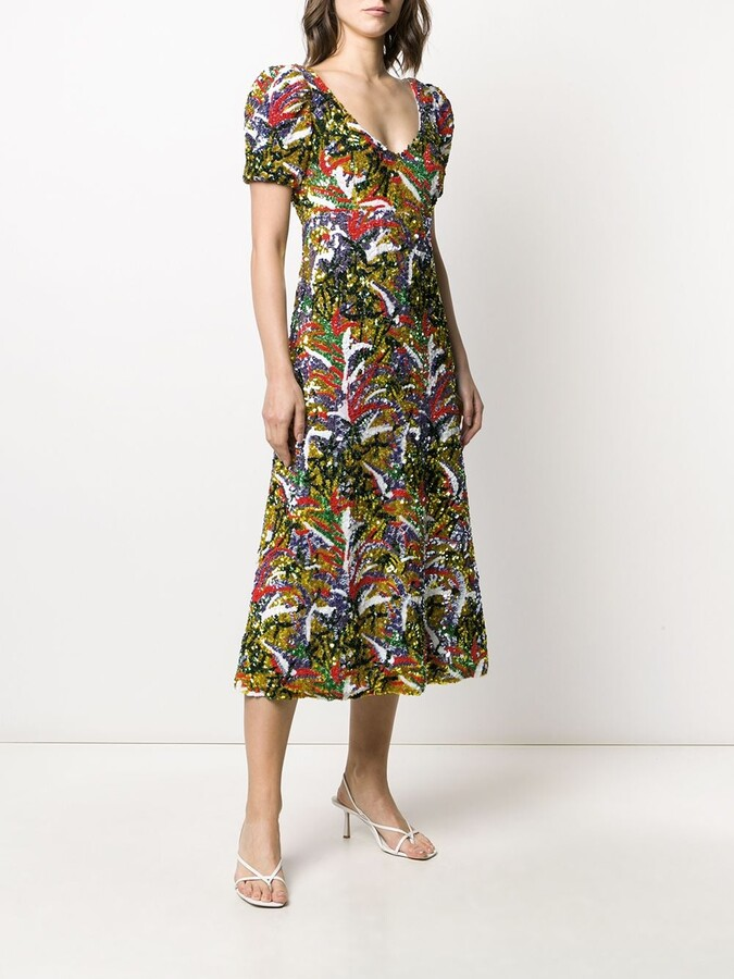 Thumbnail for your product : La DoubleJ Party Tropical-pattern sequinned dress