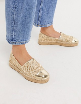 Aldo Cinco embroidered espadrilles in gold